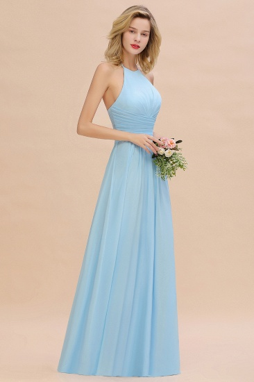 Glamorous Halter Backless Long Affordable Bridesmaid Dresses with Ruffle_5