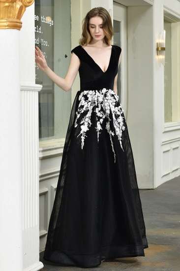BMbridal Sexy Black Long Prom Dress V-Neck Evening Gowns With Lace Appliques_4