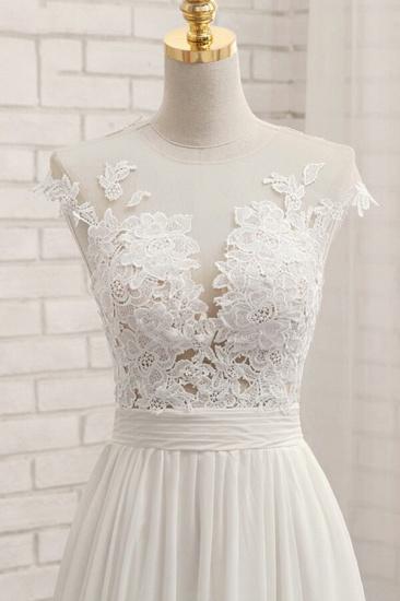 Elegant Chiffon Sleeveless Appliques Wedding Dress A-line Jewel White Bridal Gowns On Sale_6