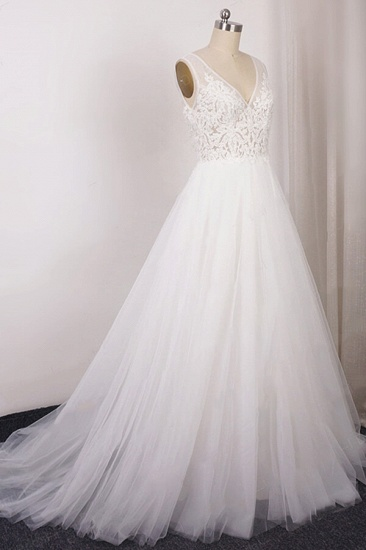 BMbridal Glamorous V-neck Straps Sleeveless Wedding Dress Appliques Tulle A-line Bridal Gowns On Sale_4