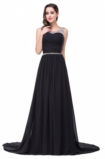 BMbridal A-line Court Train Chiffon Party Dress With Beading_5