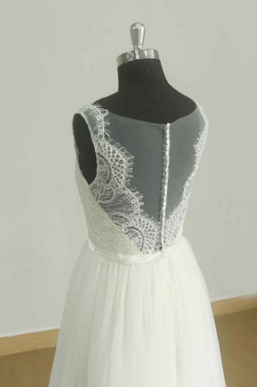 BMbridal Affordable Jewel Sleeveless Tulle Wedding Dress Appliques Ruffles White Bridal Gowns On Sale_4