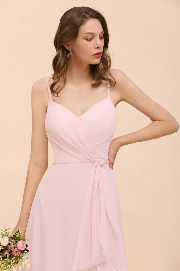 BMbridal Affordable Blushing Pink Spaghetti Straps Ruffle Bridesmaid Dress_7