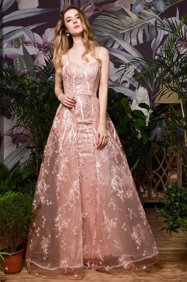 Pink Spaghetti-Straps Appliques Prom Dress Long Evening Gowns Overskirt_9