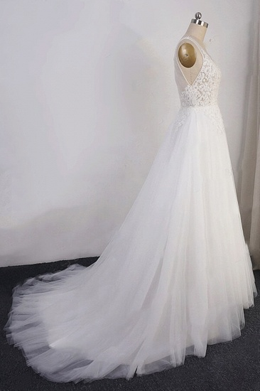 BMbridal Elegant Appliques Straps Tulle Wedding Dress A-line White V-neck Bridal Gowns On Sale_5