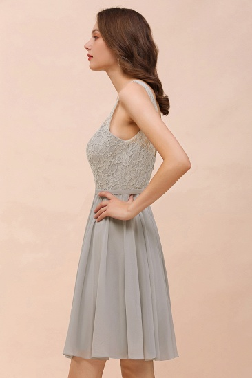 Affordable Lace V-Neck Silver Chiffon Short Bridesmaid Dress Online_10