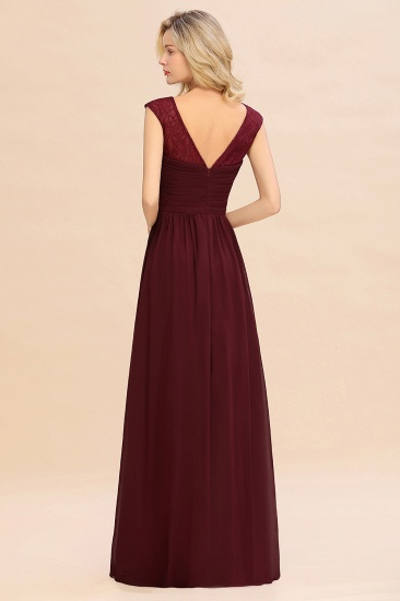 BMbridal Modest Burgundy Chiffon Sleeveless Ruffle Bridesmaid Dress Affordable_3