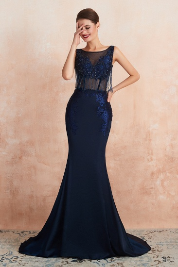BMbridal Gorgeous Navy Mermaid Prom Dress With Appliques Tassels Online_6