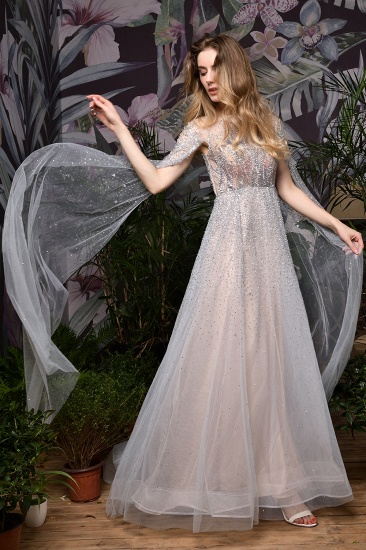 BMbridal Luxurious Tulle Crystals Long Prom Dress Online With Ruffle Sleeves_16