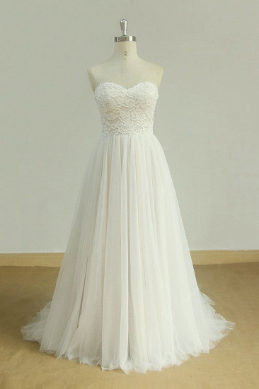 Sexy Sweetheart White Tulle Wedding Dress Lace A-line Ruffles Bridal Gowns On Sale_1