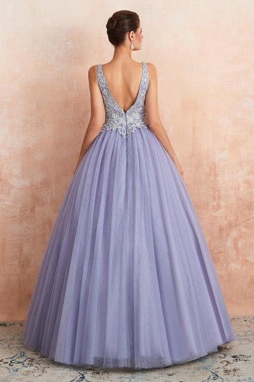 Gorgeous Lavender Lace Prom Dress V-Neck Ball Gown Tulle Formal Wears_3
