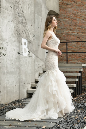 Gorgeous Mermaid Tulle Appliques Ivory Wedding Dress_11