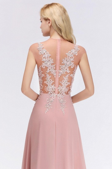 BMbridal A-line Jewel Sleeveless Chiffon Tulle Lace Bridesmaid Dress_6