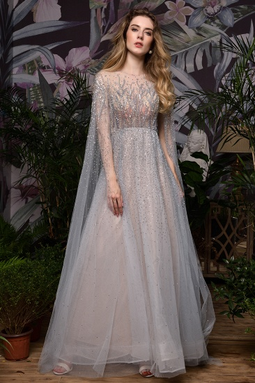 Luxurious Tulle Crystals Long Prom Dress Online With Ruffle Sleeves_13
