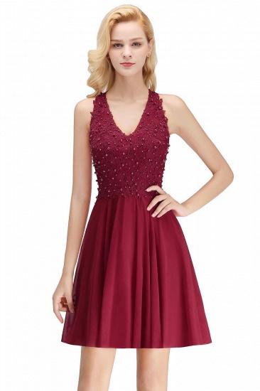 BMbridal A-line V-neck Sleeveless Short Appliques Chiffon Homecoming Dress_2