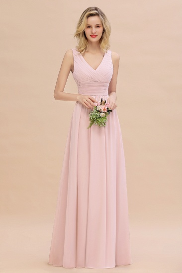 Elegant V-Neck Dusty Rose Chiffon Bridesmaid Dress with Ruffle_3