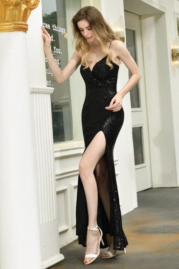 Sparkly Black Sequins Spaghetti Straps V-Neck Affordable Prom Dress_9