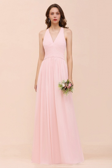 Chic V-Neck Ruffle Affordable Bridesmaid Dress