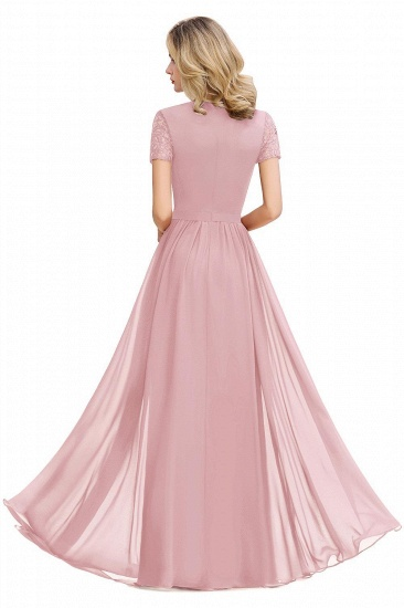 BMbridal Chic A-line Chiffon Lace Bridesmaid Dress with Short Sleeves_7