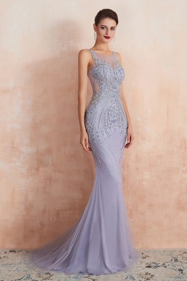 Luxurious Lilac Crystal Prom Dress Mermaid Long Evening Gowns_5