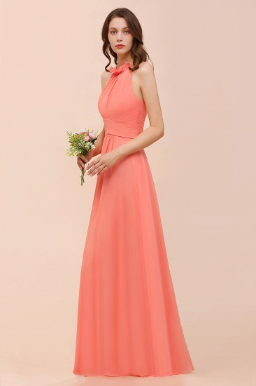 BMbridal Modest Halter Ruffle Coral Chiffon Affordable Bridesmaid Dress Online_5
