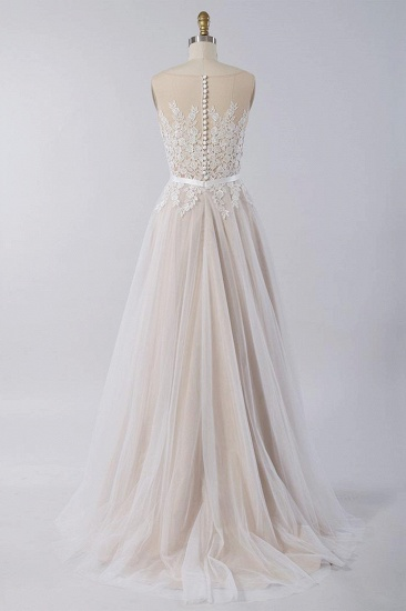 Affordable Sleeveless Jewel Appliques Wedding Dress Tulle Ruffles A-line Bridal Gowns On Sale_3