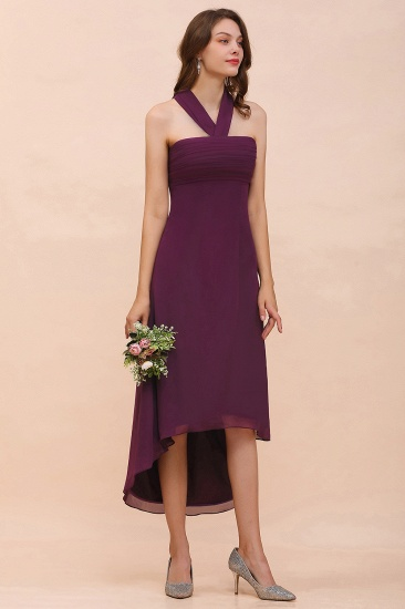 Stylish Hi-Lo Halter Grape Chiffon Affordable Bridesmaid Dresses with Ruffle_6
