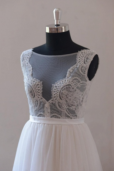 Affordable Appliques Tulle Sleeveless Wedding Dress White A-line Jewel Bridal Gowns On Sale_4