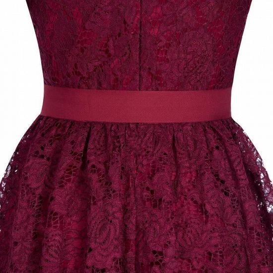BMbridal Burgundy Short Sleeves Flower Lace V-neck Dress with Sash_7