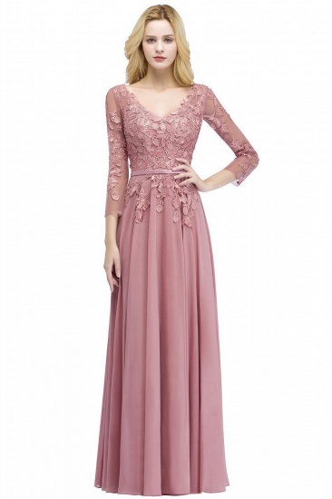 BMbridal Elegant Chiffon Lace Dusty Rose Evening Dress