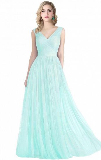 BMbridal A-line Ruffled Tulle Sleeveless Ribbon Sash V-neck Bridesmaid Dress_3