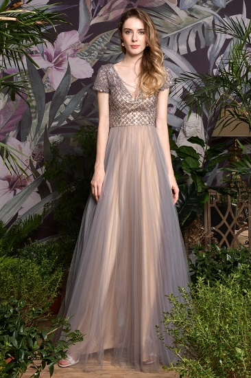 Glamorous Short Sleeve Tulle Prom Dress Long Evening Party Gowns Online_5