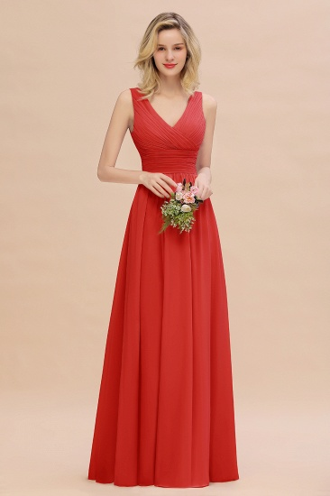 BMbridal Elegant V-Neck Dusty Rose Chiffon Bridesmaid Dress with Ruffle_8
