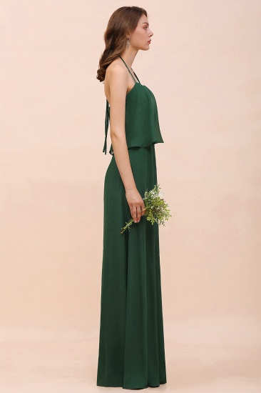 Chic Halter Sweetheart Dark Green Chiffon Bridesmaid Dress_8