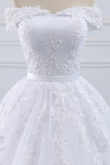 Unique Off the Shoulder Appliques Lace Wedding Dress Ball Gown White A-line Bridal Gowns On Sale_5