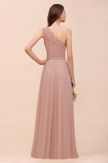 New Arrival Dusty Rose One Shoulder Lace Long Bridesmaid Dress_52