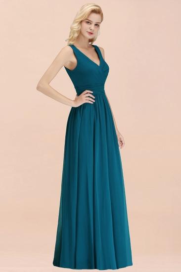 Modest Sleeveless V-Neck Long Chiffon Bridesmaid Dress Online with Ruffle_55
