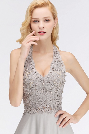 BMbridal A-line Halter Chiffon Lace Bridesmaid Dress with Beadings_7