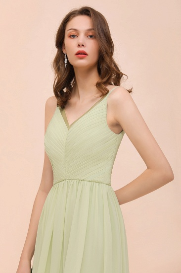 BMbridal Popular V-Neck Sage Chiffon Affordable Bridesmaid Dress with Low Back_8