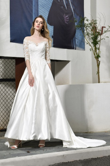 Elegant A-Line Satin Lace 3/4 Sleeves Ankle Length Wedding Dress_6