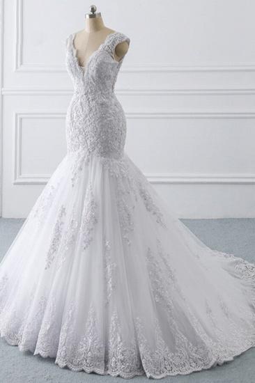 BMbridal Gorgeous V-neck Sleeveless Mermaid Wedding Dress Lace White Bridal Gowns On Sale_4