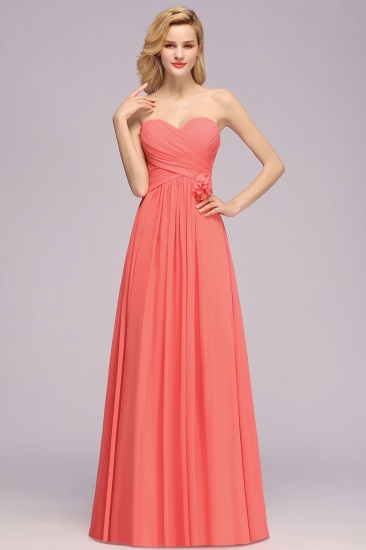Affordable Sweetheart Strapless Chiffon Bridesmaid Dress with Flower_4