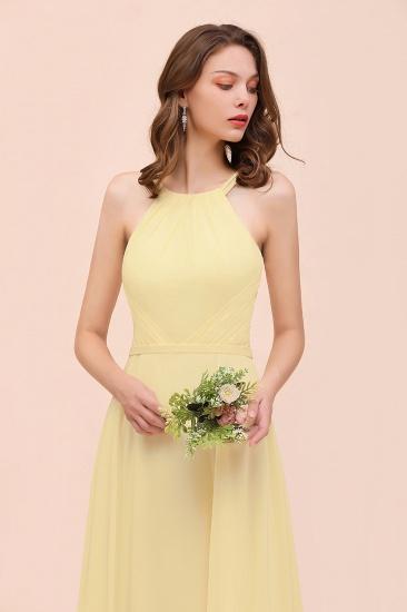Affordable Daffodil Chiffon Sleeveless Long Bridesmaid Dress with Ruffle_8
