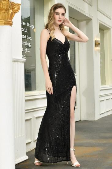 Sparkly Black Sequins Spaghetti Straps V-Neck Affordable Prom Dress_6
