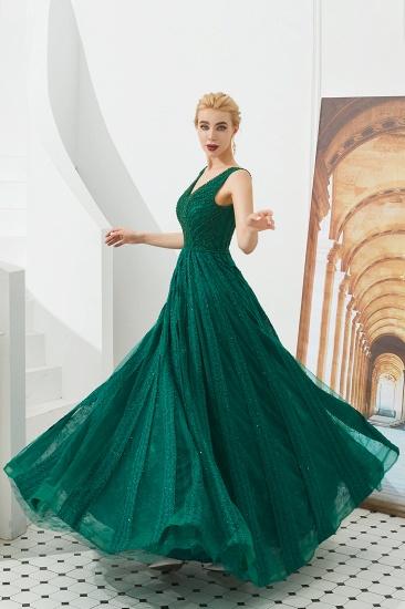Glamorous Green V-Neck Sleeveless Prom Dress Long With Beadings Online_7