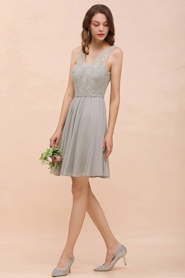 Affordable Lace V-Neck Silver Chiffon Short Bridesmaid Dress Online_5