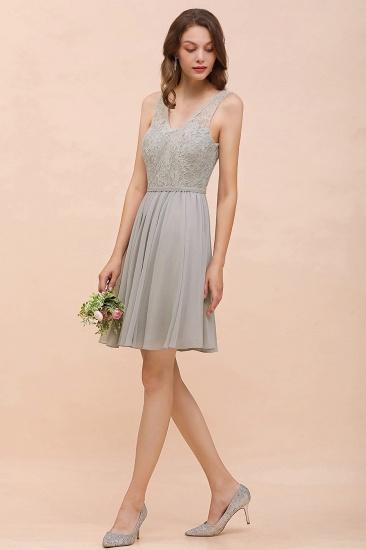 BMbridal Affordable Lace V-Neck Silver Chiffon Short Bridesmaid Dress Online_5