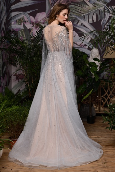 BMbridal Luxurious Tulle Crystals Long Prom Dress Online With Ruffle Sleeves_20
