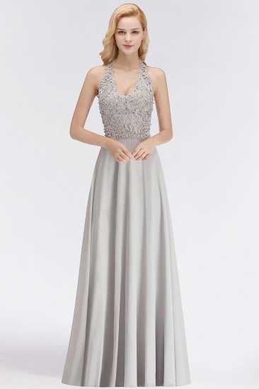 BMbridal A-line Halter Chiffon Lace Bridesmaid Dress with Beadings
