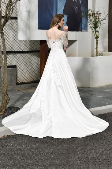 BMbridal Elegant A-Line Satin Lace 3/4 Sleeves Ankle Length Wedding Dress_3
